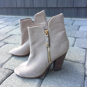 Guess Bitki Peep Toe Perforated Ankle Boots Bootie